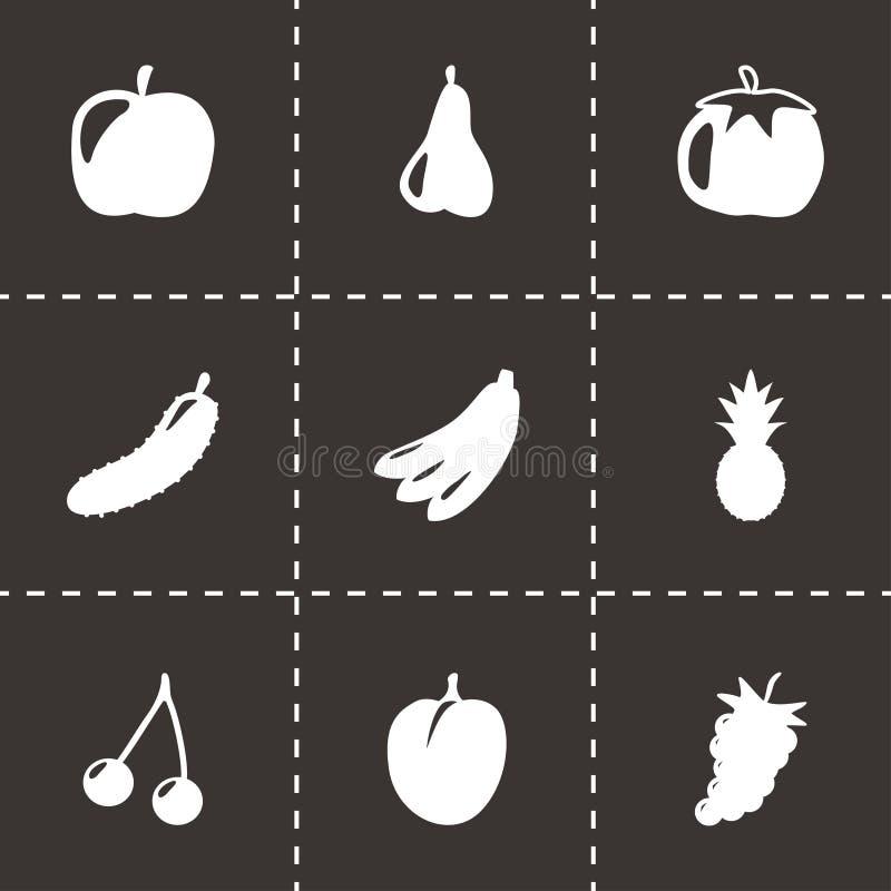 Icônes noires de fruits et légumes de vecteur réglées illustration de vecteur