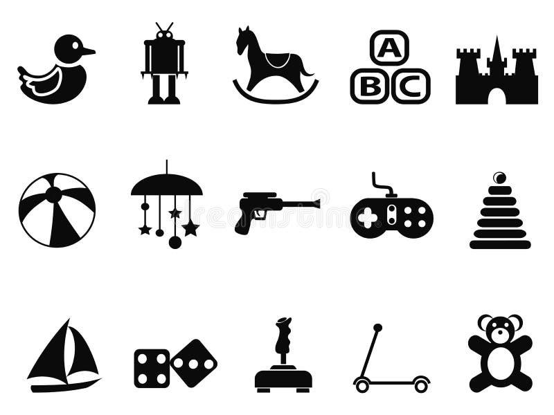 Icônes noires de jouet réglées illustration de vecteur