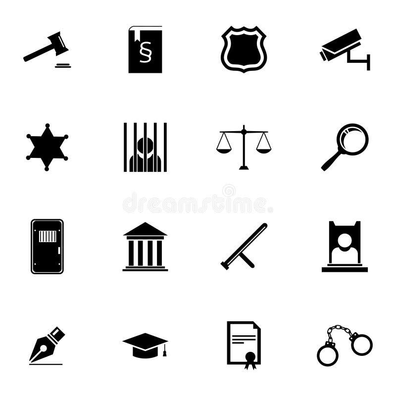 Icônes noires de justice de vecteur réglées illustration libre de droits