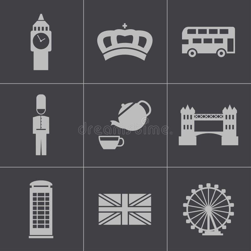 Icônes noires de Londres de vecteur réglées illustration de vecteur