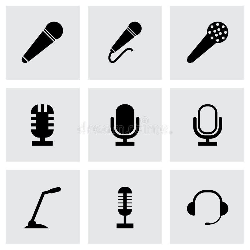 Icônes noires de microphone de vecteur réglées illustration libre de droits