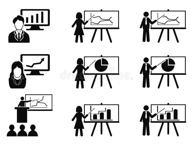 Icônes noires de présentation de réunion de séminaire de conférence d'affaires réglées illustration de vecteur