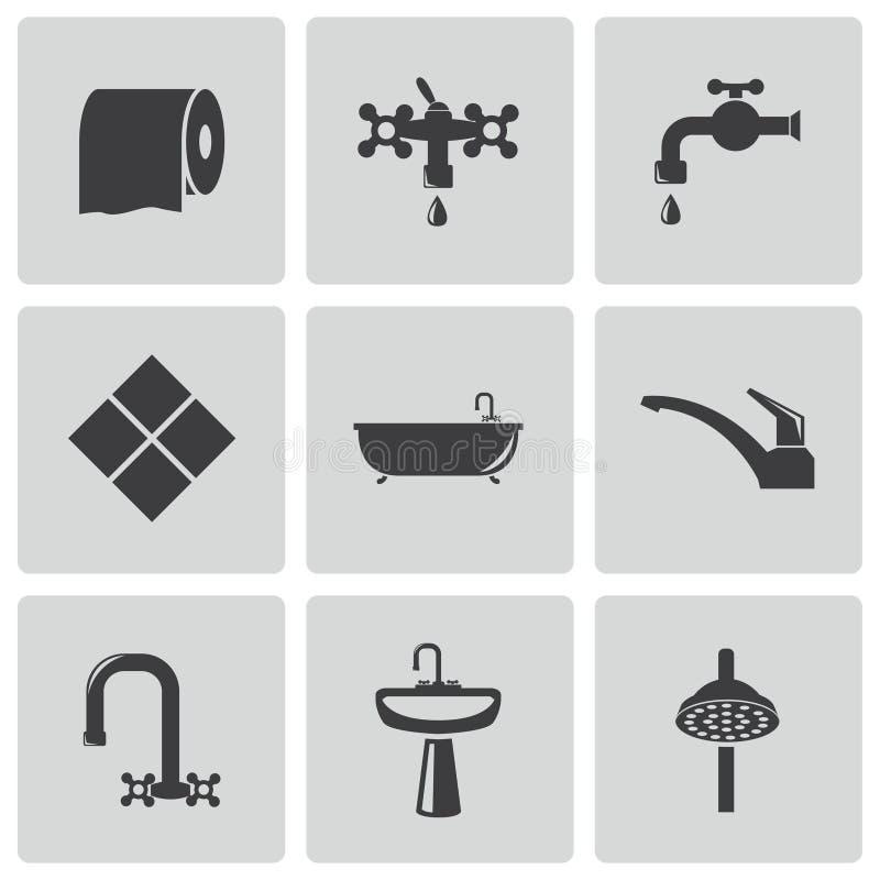Icônes noires de salle de bains de vecteur réglées illustration de vecteur
