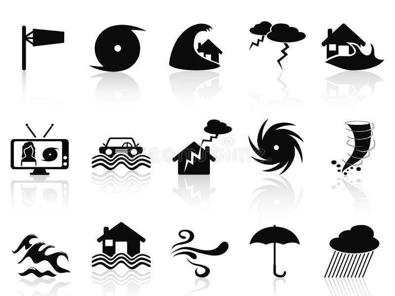 Icônes noires de tempête réglées illustration de vecteur