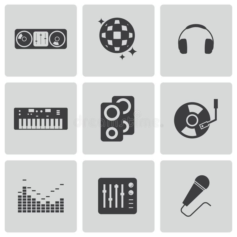 Icônes noires du DJ de vecteur réglées illustration libre de droits