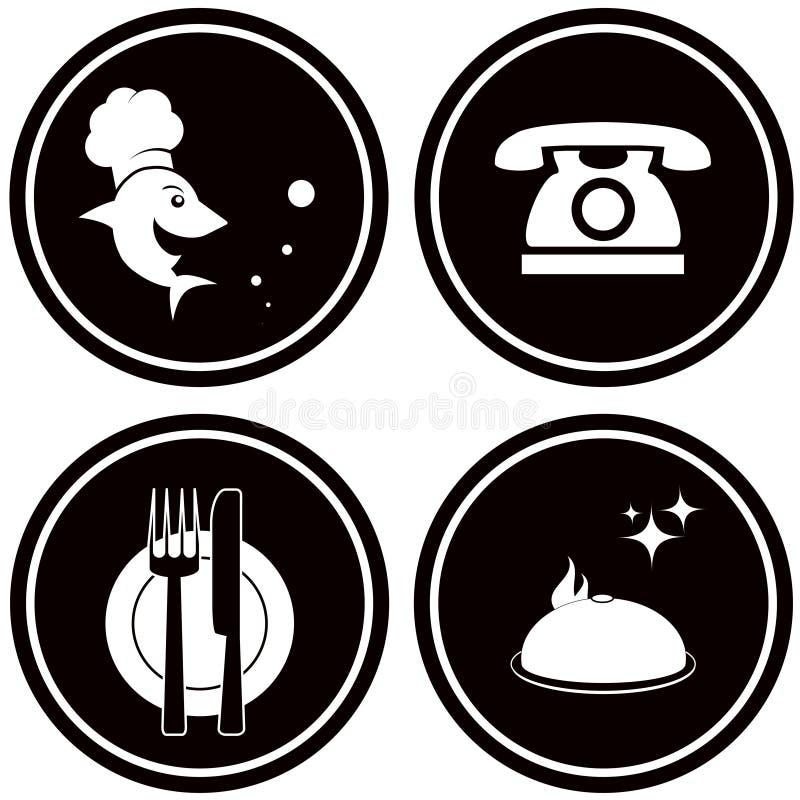 Icônes noires pour le menu de poissons illustration de vecteur
