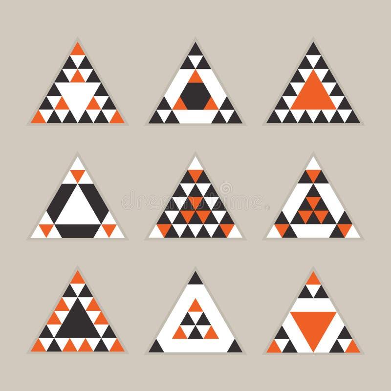 Icônes oranges géométriques de triangles équilaterales de tuile réglées illustration de vecteur