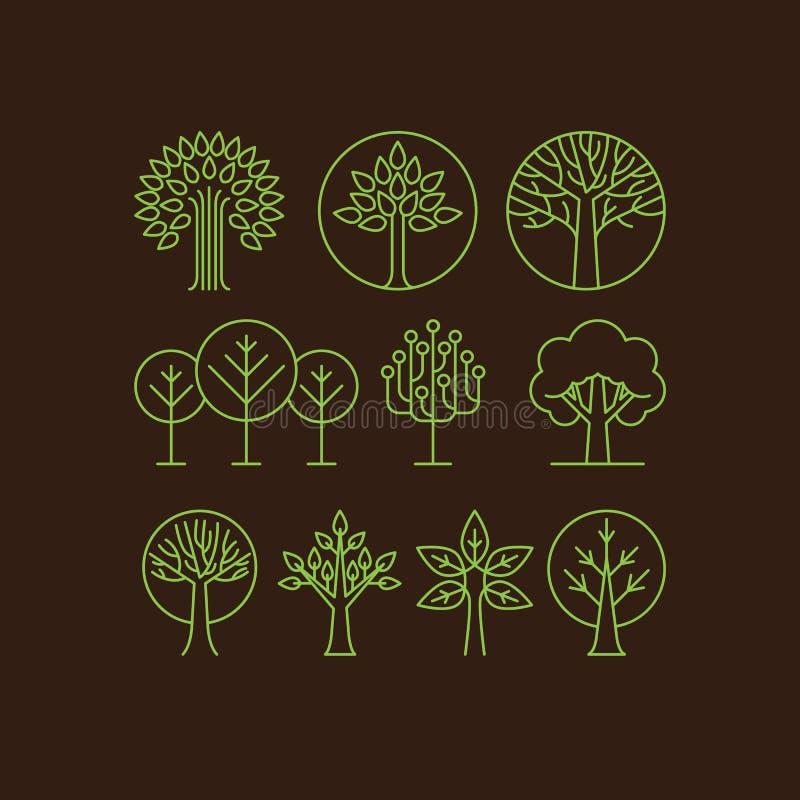 Icônes organiques d'arbre de vecteur illustration de vecteur