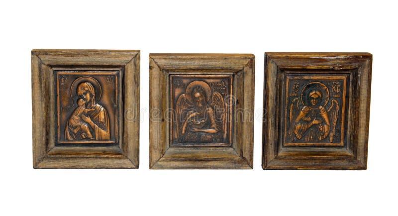 Icônes orthodoxes de cuivre d'isolement image stock