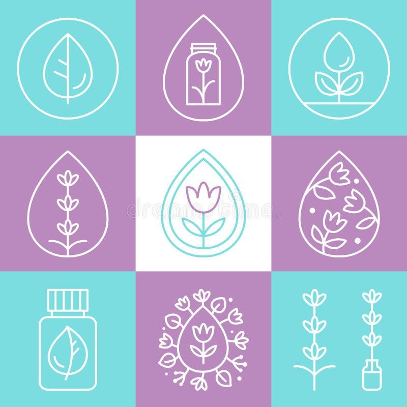 Icônes ou logos d'ensemble d'huiles essentielles illustration stock