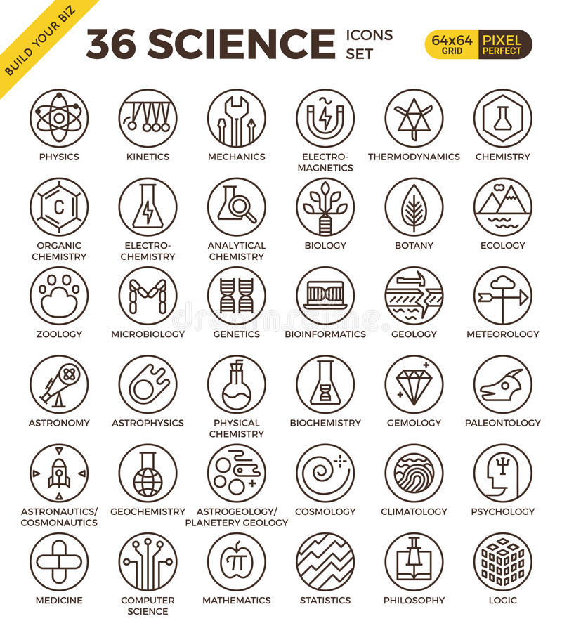 Icônes parfaites d'ensemble de pixel d'insigne d'éducation de la Science illustration libre de droits