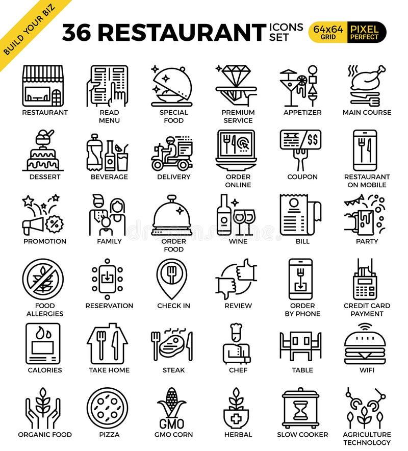 Icônes parfaites d'ensemble de pixel de secteur alimentaire de restaurant illustration de vecteur
