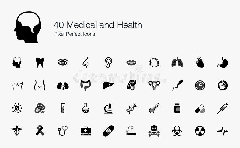 40 icônes parfaites médicales et de santé de pixel illustration libre de droits