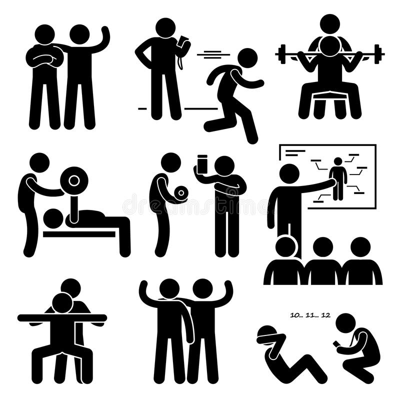 Icônes personnelles d'Instructor Exercise Workout d'entraîneur de car de gymnase illustration libre de droits