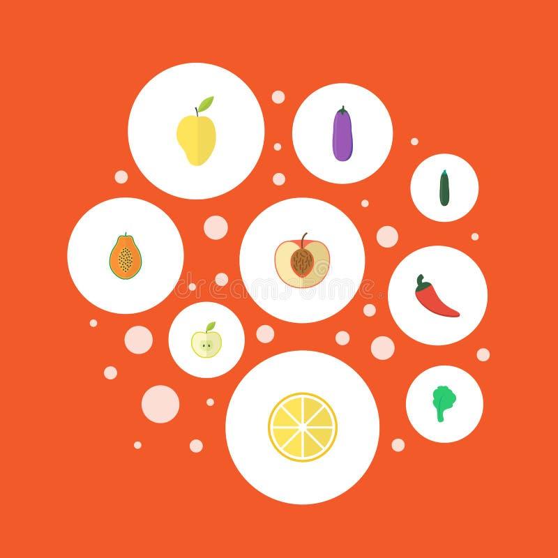Icônes plates chaux, salade, Jonagold et d'autres éléments de vecteur L'ensemble de Berry Flat Icons Symbols Also inclut des vert illustration de vecteur