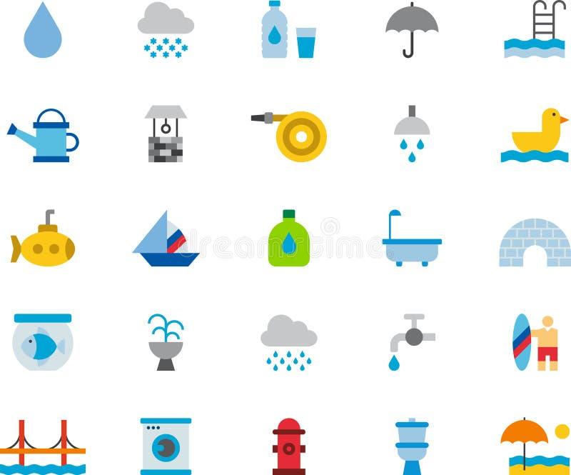 Icônes plates colorées CONNEXES PAREAU illustration de vecteur