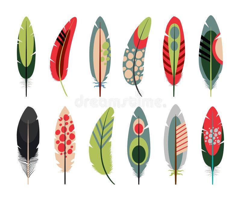 Icônes plates colorées de plumes réglées illustration libre de droits
