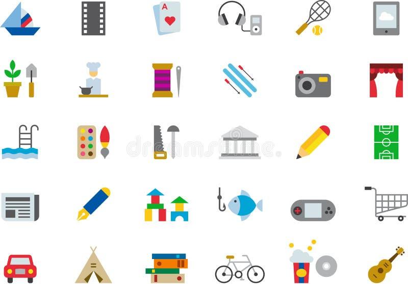 Icônes plates colorées par LOISIRS illustration de vecteur
