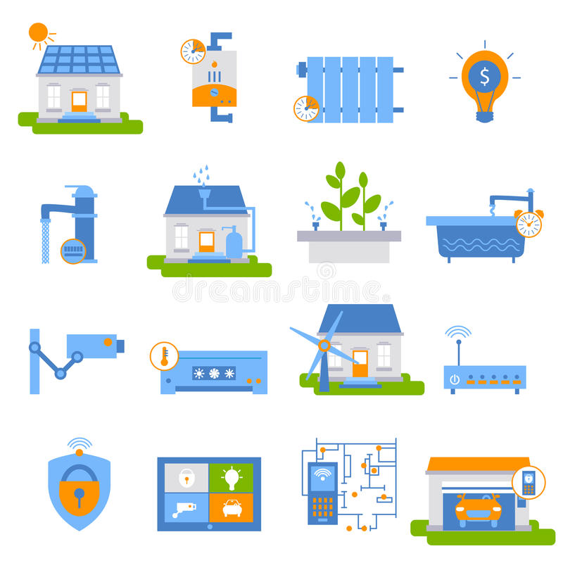 Icônes plates décoratives de Chambre futée illustration stock