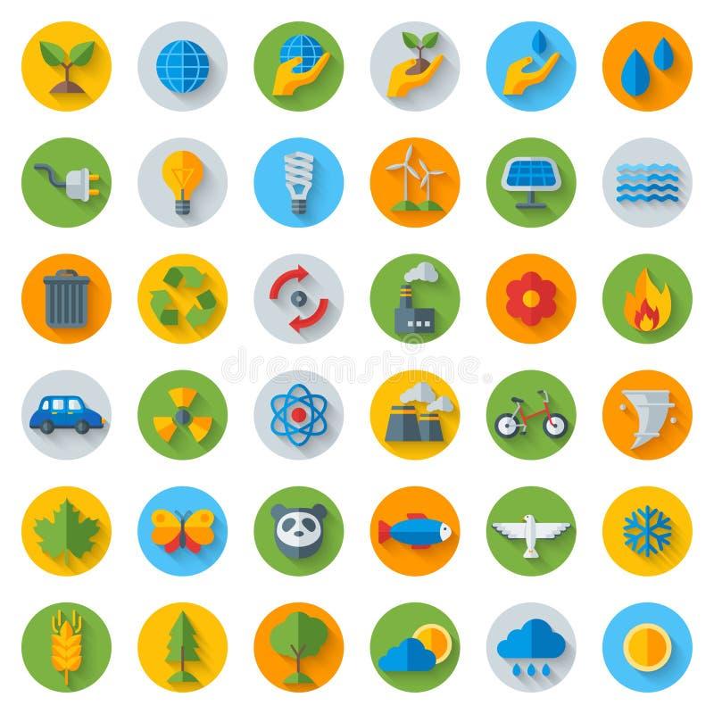 Icônes plates d'écologie sur des cercles avec l'ombre positionnement illustration stock