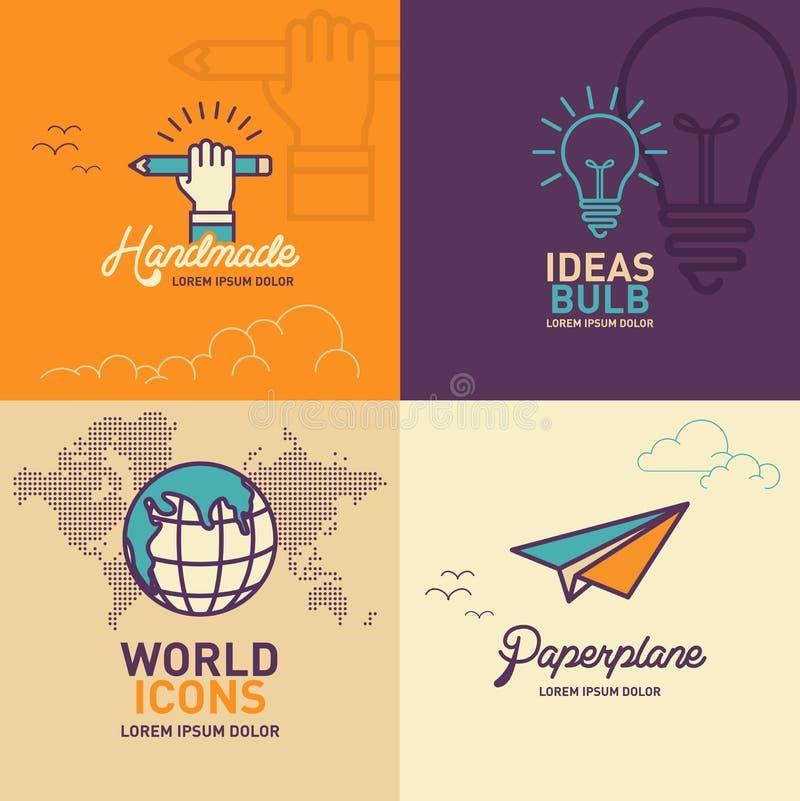Icônes plates d'éducation, main tenant l'icône de crayon, icône d'ampoule, icône du monde, icône plate de papier illustration stock