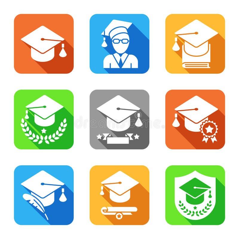 Icônes plates d'éducation réglées illustration stock