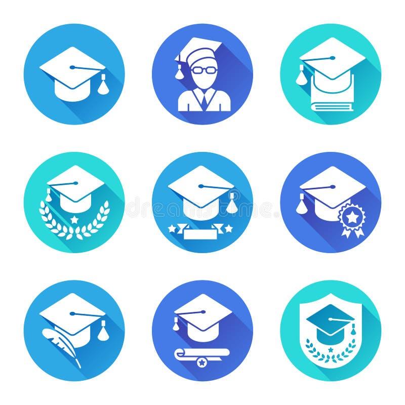 Icônes plates d'éducation réglées illustration libre de droits