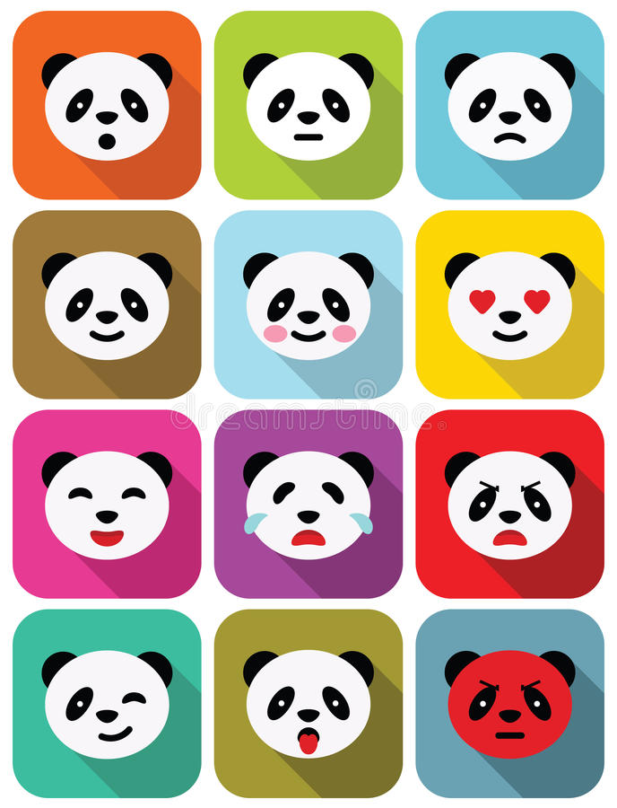 Icônes plates d'émotions d'ours panda réglées. illustration de vecteur