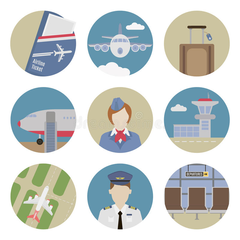 Icônes plates d'aéroport illustration libre de droits
