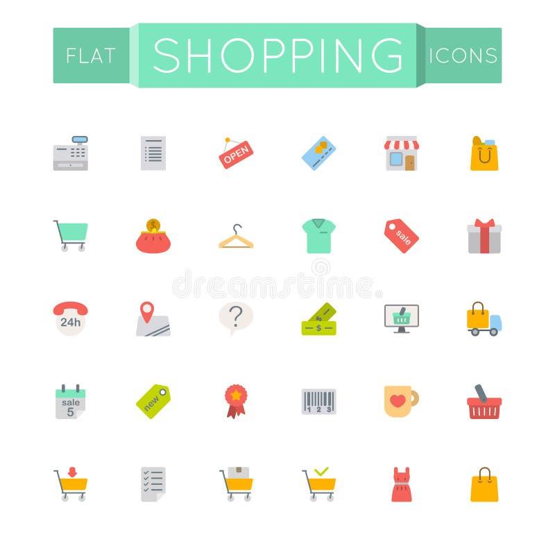 Icônes plates d'achats de vecteur illustration stock