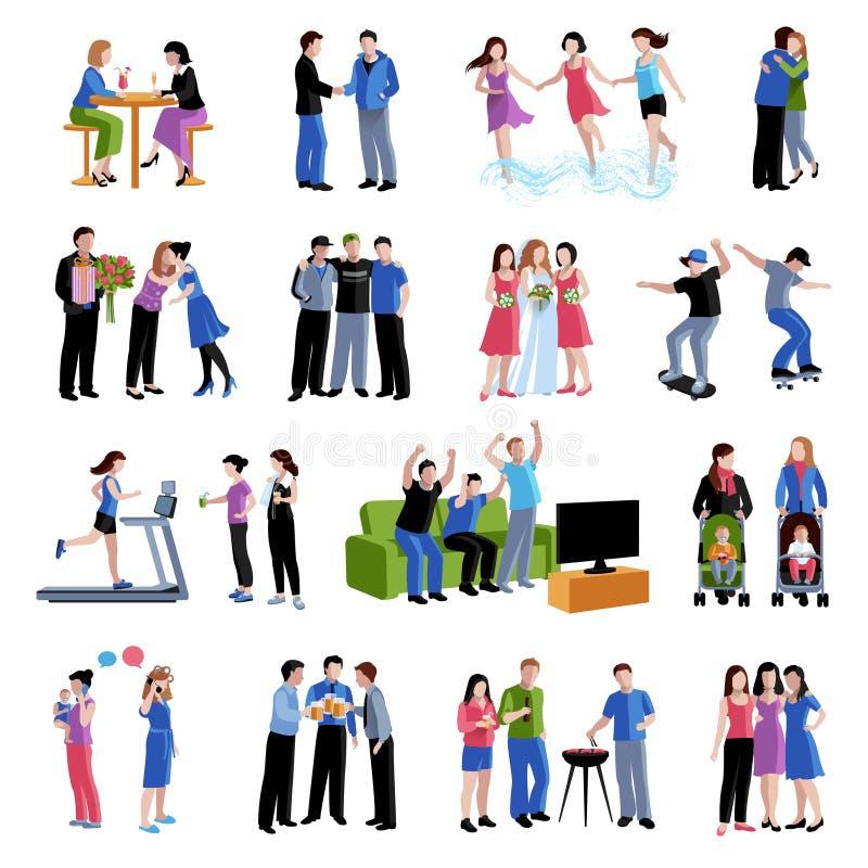 Icônes plates d'activités d'amis d'amis réglées illustration stock