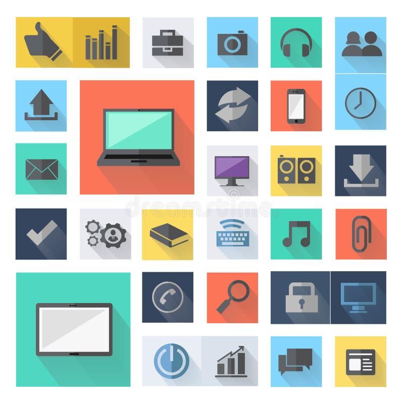 Icônes plates d'affaires de technologie, conception moderne de calibre d'illustration de vecteur illustration libre de droits
