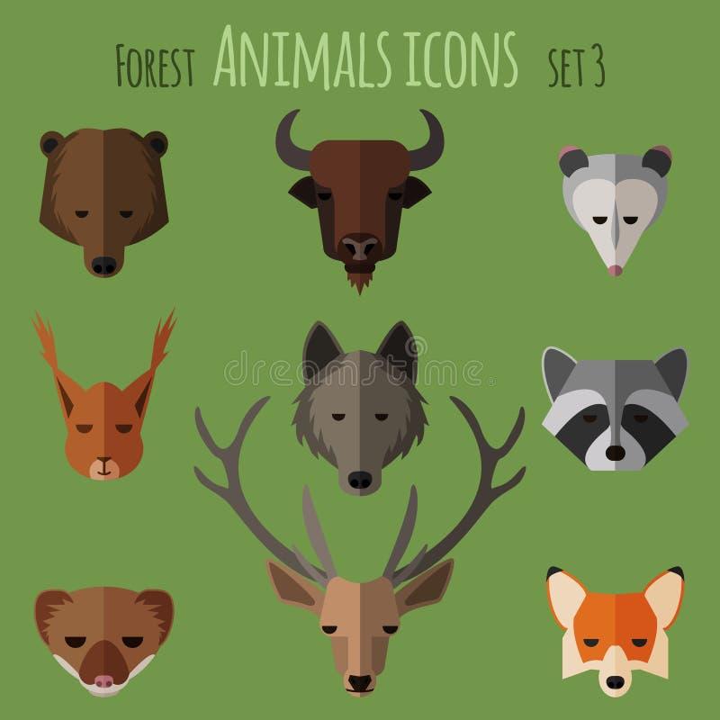 Icônes plates d'animaux de forêt Ensemble 1 illustration stock