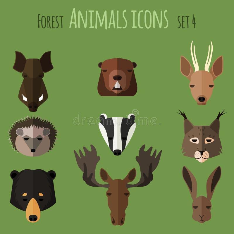 Icônes plates d'animaux de forêt Positionnement 2 illustration libre de droits