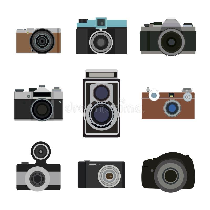 Icônes plates d'appareil-photo de photo réglées Rétro équipement de photographie Vecteur d'objectif de caméra illustration stock