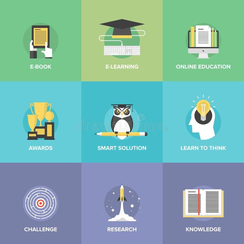 Icônes plates d'apprentissage en ligne réglées