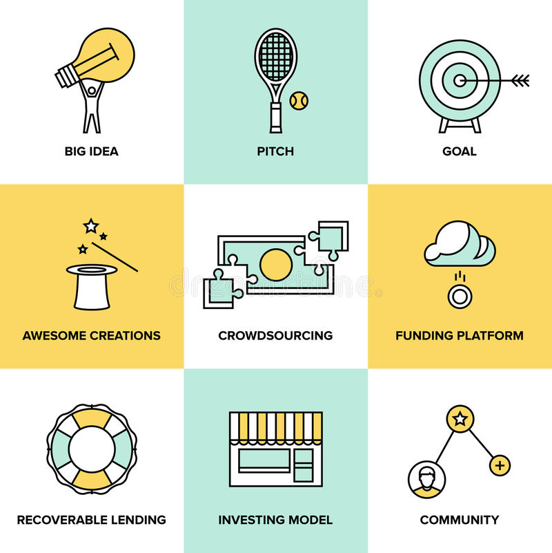Icônes plates d'argent de Crowdsourcing et de placement illustration de vecteur