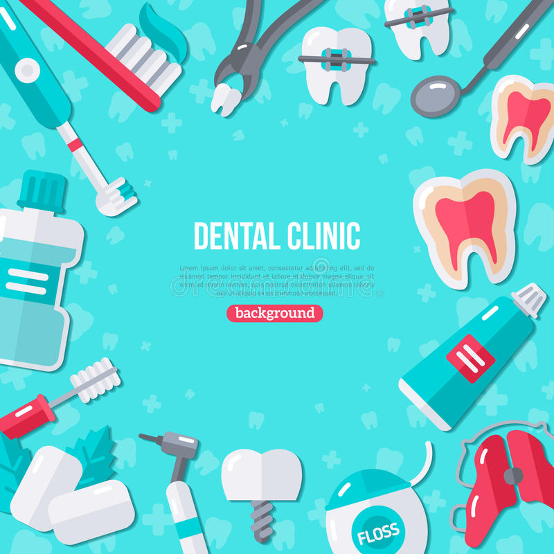 Icônes plates d'art dentaire sur le fond bleu illustration libre de droits