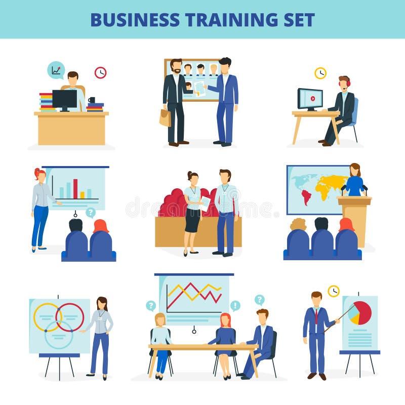Icônes plates d'ateliers de formation d'affaires réglées illustration stock