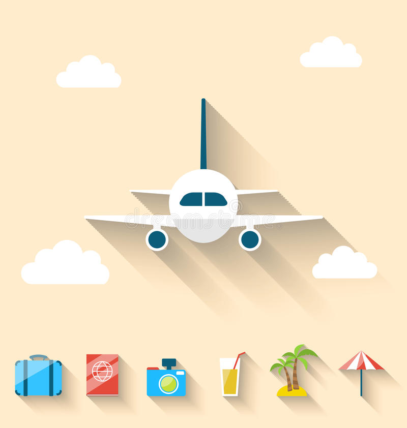 Icônes plates d'ensemble des vacances d'été de planification, style simple illustration stock