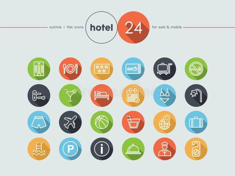 Icônes plates d'hôtel réglées illustration de vecteur