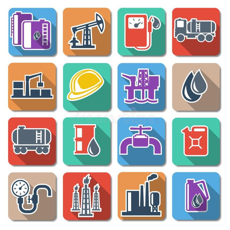 Icônes plates d'industrie pétrolière de vecteur illustration de vecteur