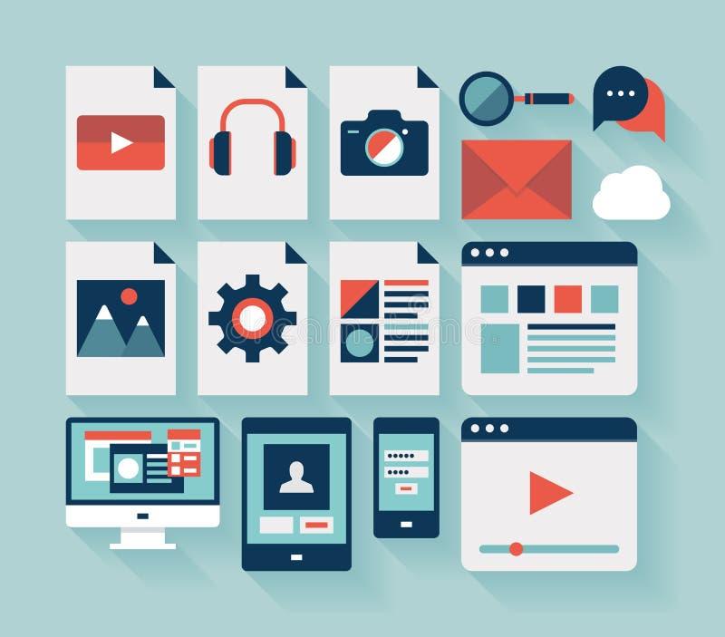 Icônes plates d'interface utilisateurs réglées illustration libre de droits