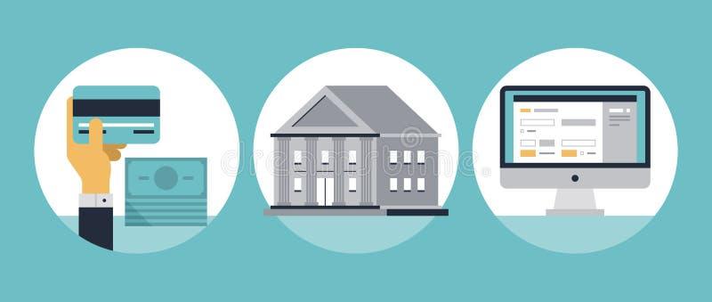 Icônes plates d'opérations bancaires en ligne illustration stock