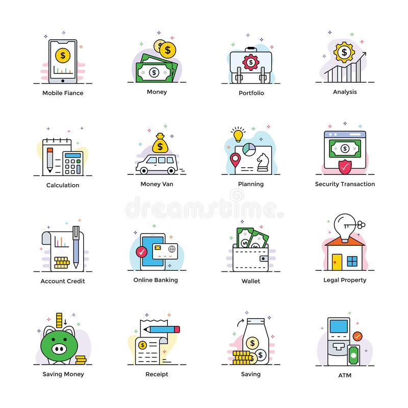 Ic?nes plates de banques et de finances illustration stock