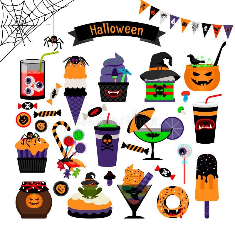 Icônes plates de bonbons à sorcellerie de Halloween illustration libre de droits