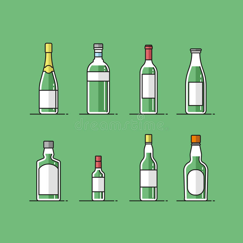 Icônes plates de bouteille de vecteur réglées illustration de vecteur