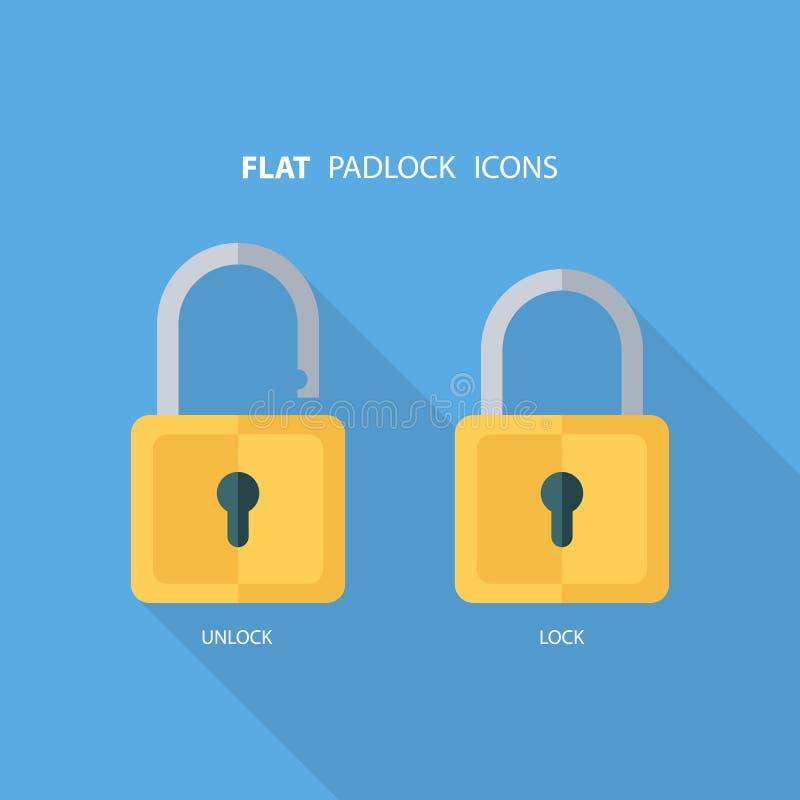 Icônes plates de cadenas Verrouillez et déverrouillez Mot de passe de concept, bloquant, sécurité illustration stock