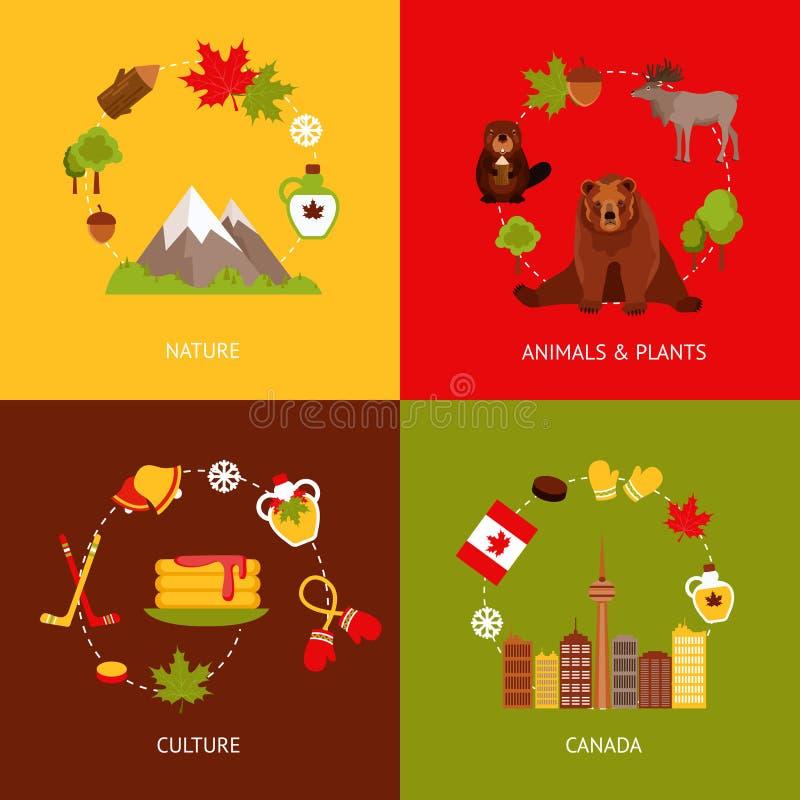 Icônes plates de Canada réglées illustration stock