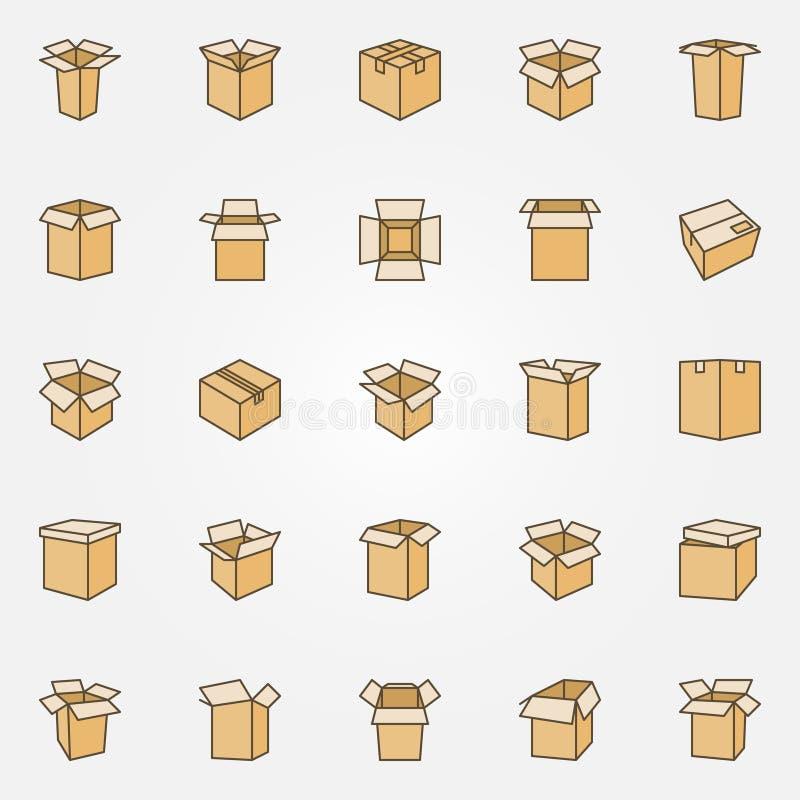Icônes plates de carton illustration de vecteur